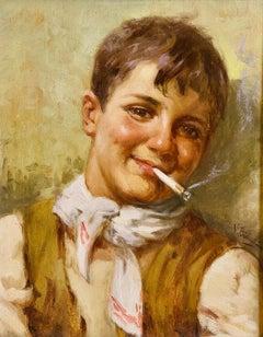 """V. Bianchini, """"Ragazzo Napoletano"""" Neapolitan Boy, Italy, Antique Oil Painting"""