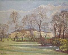 Antique Oil Painting, Schloss (Palace) Bellevue in Berlin. By Bruno Lück