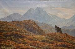 Antique Mountain Landscape, Oil Painting by Henrik Jespersen. Danish School.