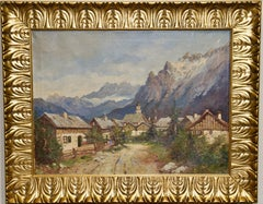 Antique Oil Painting, Alpine Landscape, Village in the Mountains.