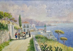 Oil Painting by Vincenzo Funiciello. View from Naples, Italy. Summer Landscape.