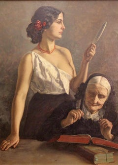 """Antique Oil Painting by Prof. Carl Leopold Voss. """"Becoming and passing away"""""""
