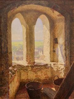 """Antique Oil Painting by Paul Kauzmann, Landscape, """"Summer Morning"""","""