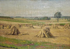Oil painting by Hans Kreuzer. Hay, straw harvest. Signed and dated.