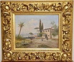 Antique oil painting, 19th century, Italian coastal view.