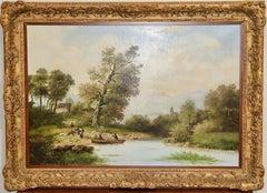 Antique, decorative oil painting. Romantic River Landscape.