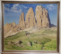 Antique oil painting, mountain landscape by Ernst Faehndrich.