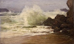 Antique Painting, Stormy Coastal View, 19th Century, H. Schnabel. Oil on canvas.