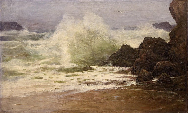 Antique Painting, Stormy Coastal View, 19th Century, H. Schnabel. Oil on canvas. - Brown Landscape Painting by H. Schnabel