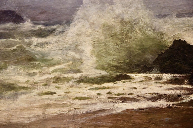 Antique painting, Stormy Coastal View, 19th Century, by H. Schnabel.  Oil on canvas.  Signed and dated lower right. Unframed.  Including certificate of authenticity.