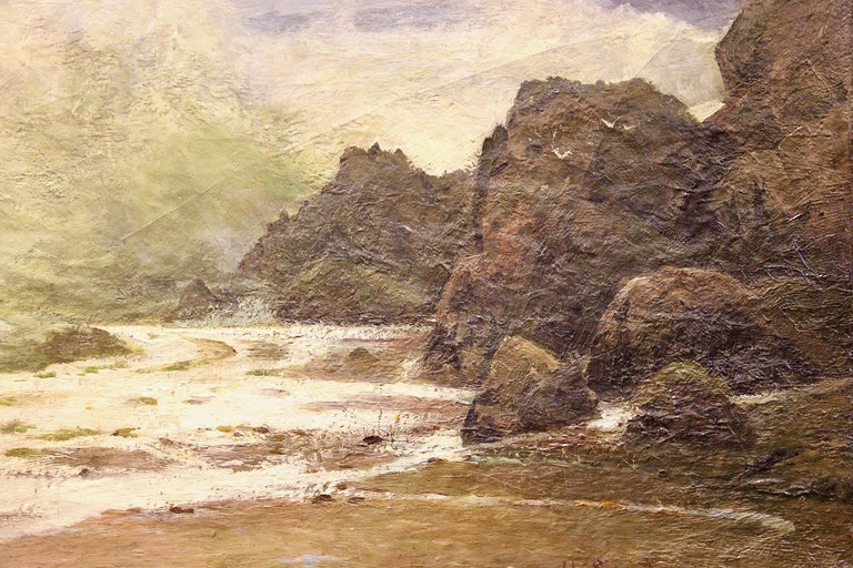 Antique Painting, Stormy Coastal View, 19th Century, H. Schnabel. Oil on canvas. For Sale 1
