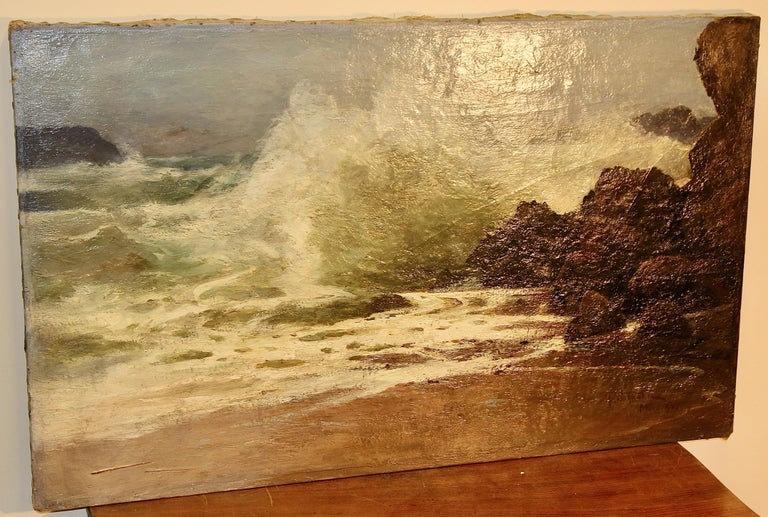 Antique Painting, Stormy Coastal View, 19th Century, H. Schnabel. Oil on canvas. For Sale 2
