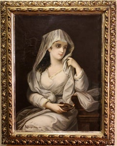 19th century Painting by Albert Ritzberger, Portrait of a Woman in a robe, garb.