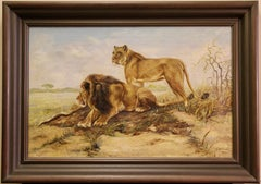 Decorative Oil Painting, Pair of Lions, Safari Wilderness Landscape, Africa.