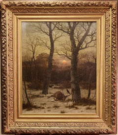 Caeser Bimmermann, Oil Painting, 1885. Snowy Winter Landscape with Deer.