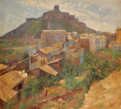 Kurt Leyde (1881-1941), Oil Painting, Southern Village Landscape, Madrid, Spain