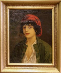 Antique Oil Painting. Portrait of an Italian Boy with a Pipe, by Anton Kaulbach.