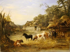 Oil Painting by John Dearman 1852, Landscape, Farm with Cows and Horse, Pony.