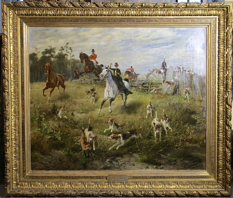 Large, impressive oil painting. Hunting scene. 19th century.