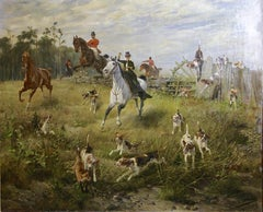 "Large, impressive oil painting. Hunting scene. 19th century. ""Fox in trouble""."