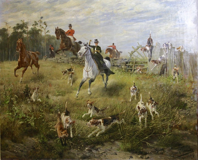"Hans Werner Schmidt Figurative Painting - Large, impressive oil painting. Hunting scene. 19th century. ""Fox in trouble""."
