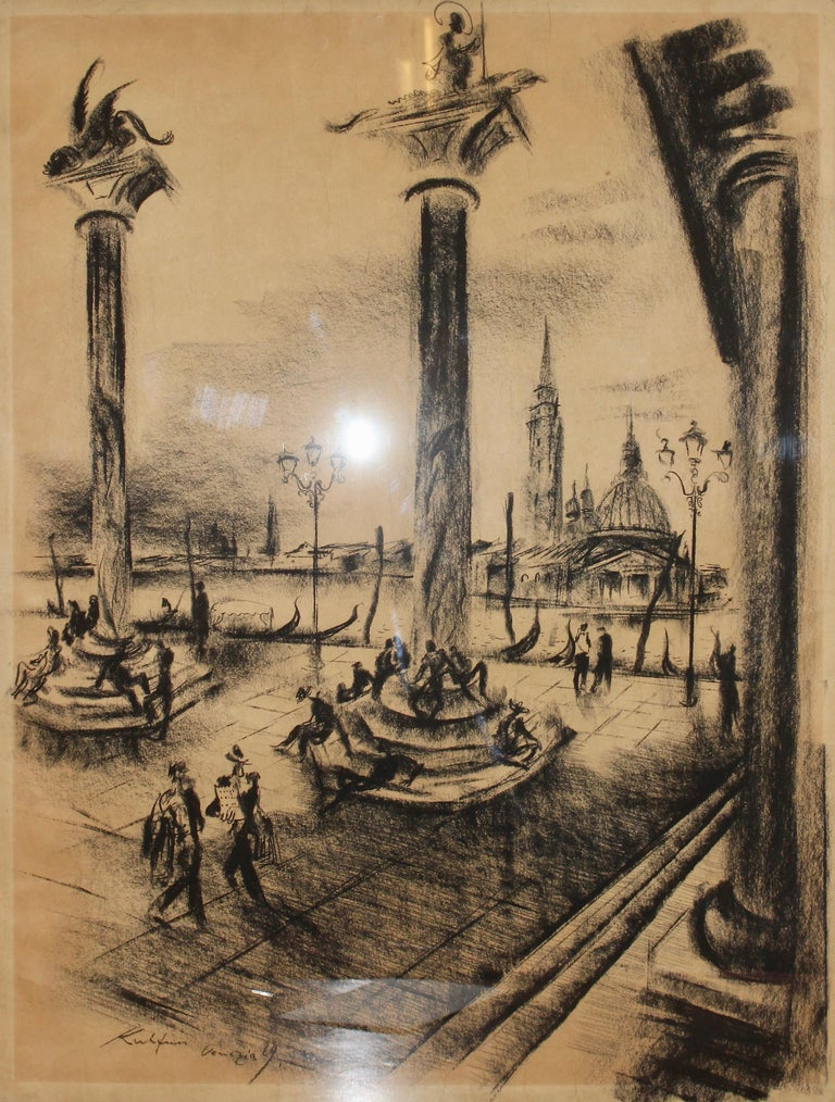 """Painting, 20th century, charcoal drawing """"Venice - Venezia"""" by Paul Kuhfuss  Original drawing. Signed and dated. Title """"Venezia"""". Framed, behind glass.  Dimensions with frame 65.5cm x 51cm.  Age-related condition.  For magazines from the publishers"""