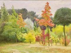 Antique Autumn Landscape, 1920. Oil Painting by August Westphalen.
