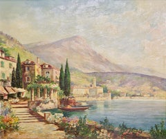 Oil Painting by Vincenzo Funiciello, View from Lake Como, Lombardy, Italy.