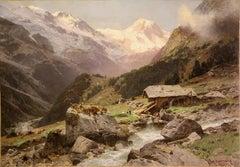 High Alpine Landscape, Alps. Oil Painting by Otto Werner Henning von Kameke.