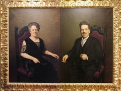 Pair of 2 Antique Oil Paintings, Decorative Portraits by Robert Beielstein 1922.