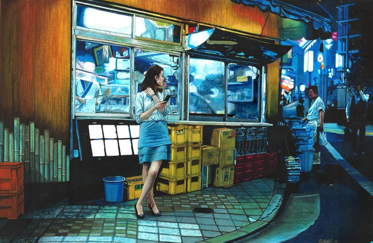 """""""The first artwork for my second series """"A Night in Japan"""". The drawing was created using Copic markers and coloured pencil. The artwork depicts a young woman in Tokyo taking a break from work at the restaurant behind her. She is watching a young"""