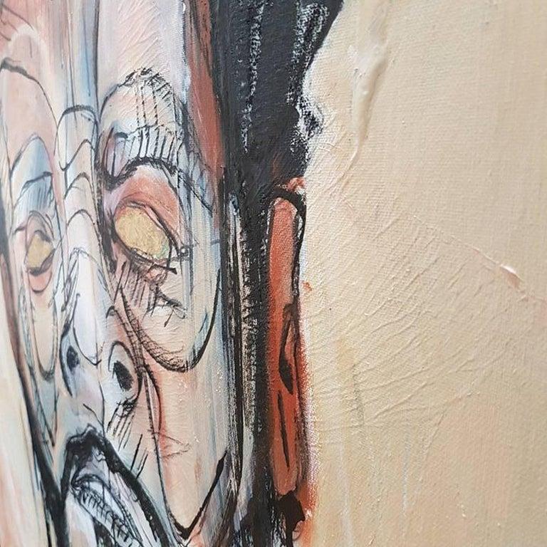 Portrait of J.Cole - Gold Portrait Painting by Sam Patterson-Smith