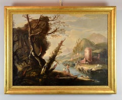 River Landscape - Painting - Oil on canvas - 18th Century