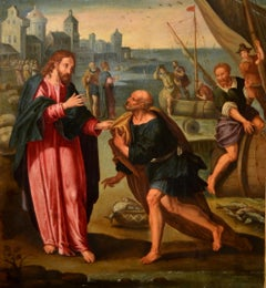 The Vocation Of St. Peter Italy Oil on copper Manierism Old master