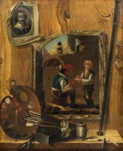 Trompe-l'oeil Paint Oil on canvas XVIIth Century Flandre Baroque