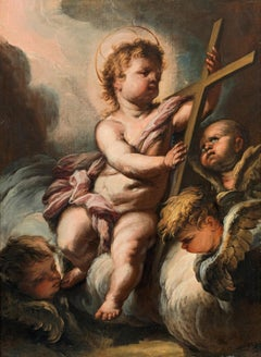 Christ Child With Three Cherubs - 17th Century Baroque Oil on Canvas Painting