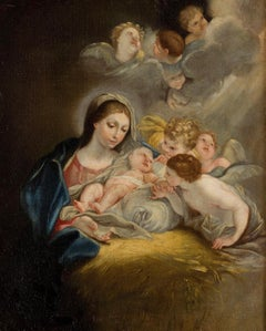 Virgin With Child And Cherubim Paint Baroque Religious Italy Oil on canvas
