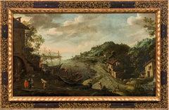 Coastal Landscape Flemish School 17th Century Paint Oil on canvas