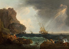 Marina Storm Water See Oil on canvas Italy 18th Century Paint