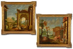 Pair Of Architectural Capricci OIl on canvas Paint Italy 18th Century