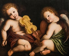 Pair Of Angels Italy Oil on canvas 17th Century Baroque Art