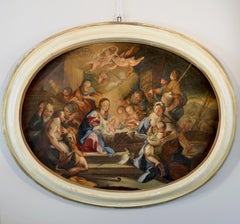 Adoration Of The Shep Paint Oil on canvas Italy 18th Century Baroque Religious