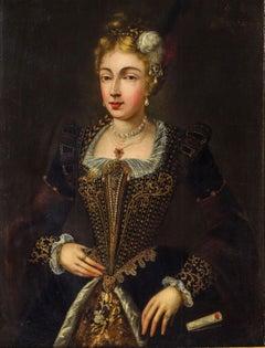 Portrait Noble Woman Italian School Paint Oil on table 16th Century Italy Art
