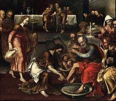 The Washing Of The Feet Flemish Mannerist 16th Century Art Paint Oil oin table