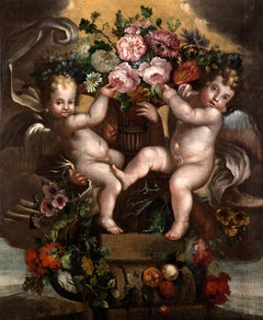 Still Life Flowers Paint Oil on canvas Italy Baroque Art Good 17th Century