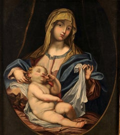 Madonna With Child Paint Oil on canvas 17th Century Baroque Art Italy Religious