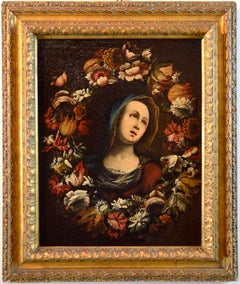 Flower Garland Virgin Paint Oil on canvas Baroque 17th Century Italy Fine Art
