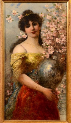 Paint Oil on canvas Girl Flowers Spring Ferroni Italy Impressionism 19th Century