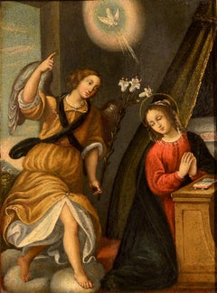 Annunciation Paint Oil on Wood Panel 18 Century Tuscany Florence Italy Leonardo
