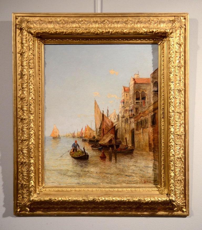 View of Venice with moored boats Active painter in Italy in the nineteenth century, signed 'P.Giani' (probably a pseudonym)  1870 about oil on canvas, cm. 69.5 x 56 with frame cm. 96 x 83  The painting that we propose, realized with excellent